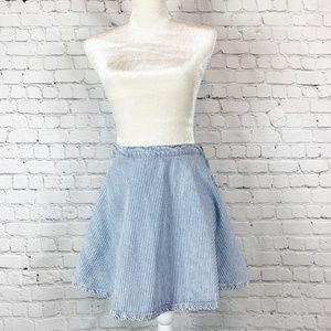 American Apparel Striped Denim Skater Circle Skirt
